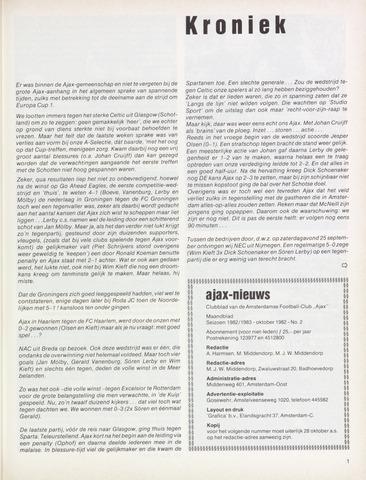 Clubnieuws Ajax (vanaf 1916) 1982-10-01