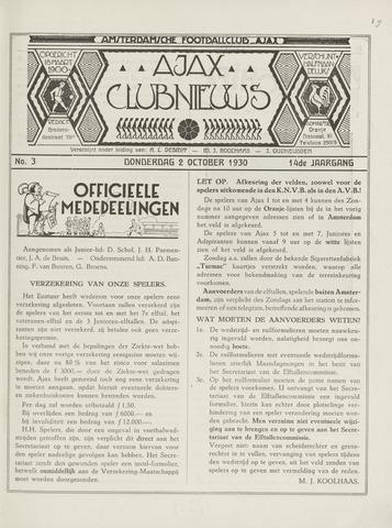 Clubnieuws Ajax (vanaf 1916) 1930-10-02