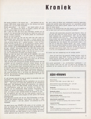 Clubnieuws Ajax (vanaf 1916) 1980-01-01