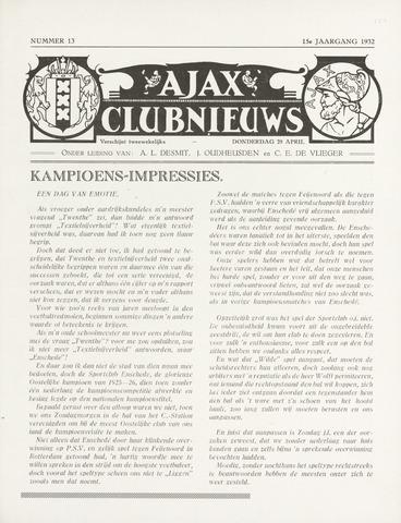 Clubnieuws Ajax (vanaf 1916) 1932-04-28
