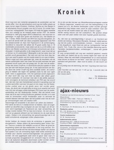Clubnieuws Ajax (vanaf 1916) 1986-02-01