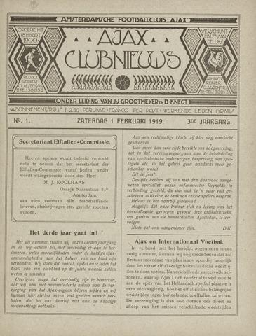 Clubnieuws Ajax (vanaf 1916) 1919-02-01