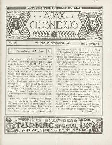 Clubnieuws Ajax (vanaf 1916) 1925-12-18