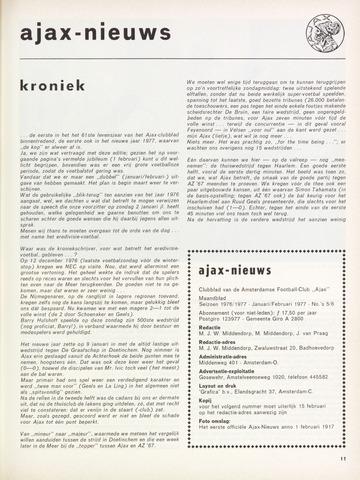 Clubnieuws Ajax (vanaf 1916) 1977-01-01