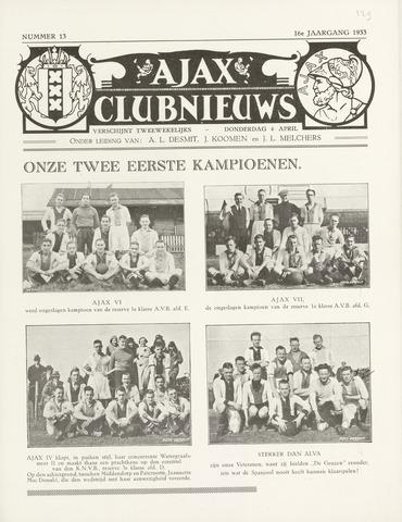 Clubnieuws Ajax (vanaf 1916) 1933-04-06