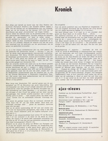 Clubnieuws Ajax (vanaf 1916) 1977-08-01