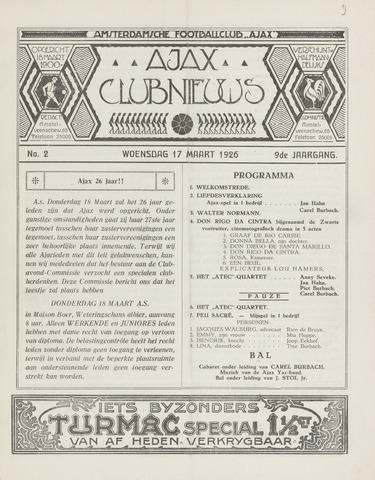 Clubnieuws Ajax (vanaf 1916) 1926-03-17