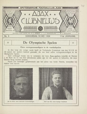 Clubnieuws Ajax (vanaf 1916) 1928-05-10