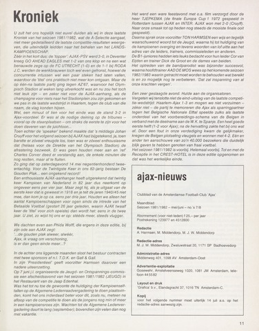 Clubnieuws Ajax (vanaf 1916) 1982-05-01