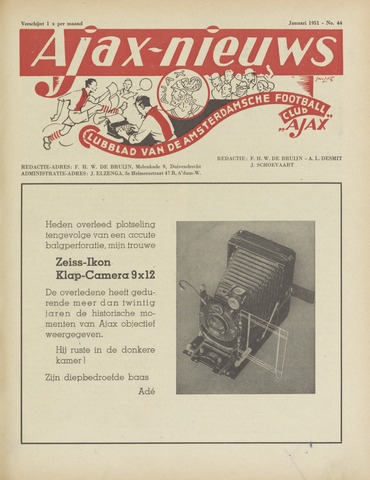 Clubnieuws Ajax (vanaf 1916) 1951-01-01