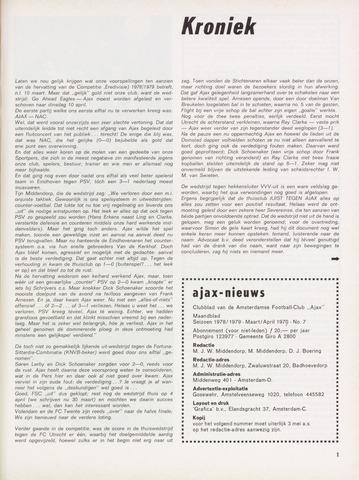 Clubnieuws Ajax (vanaf 1916) 1979-03-01