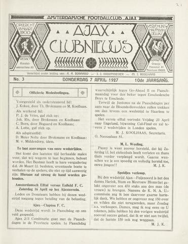Clubnieuws Ajax (vanaf 1916) 1927-04-07