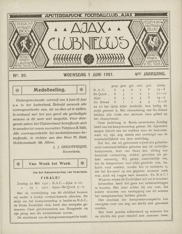 Clubnieuws Ajax (vanaf 1916) 1921-06-01