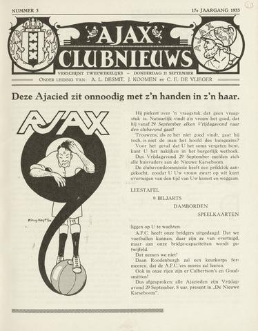 Clubnieuws Ajax (vanaf 1916) 1933-09-21