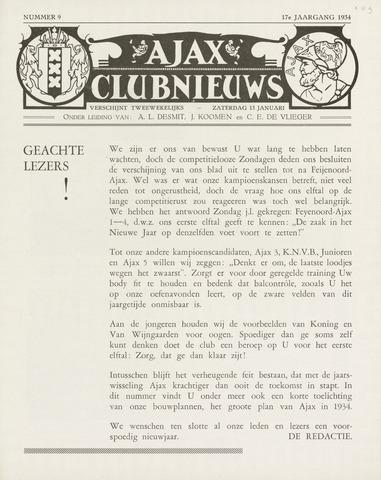 Clubnieuws Ajax (vanaf 1916) 1933-01-13