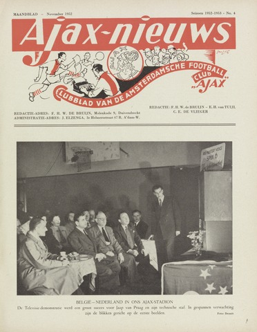 Clubnieuws Ajax (vanaf 1916) 1952-11-01