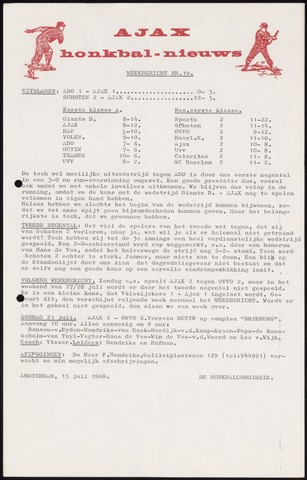 Honkbal nieuws (1963-1972) 1968-07-15