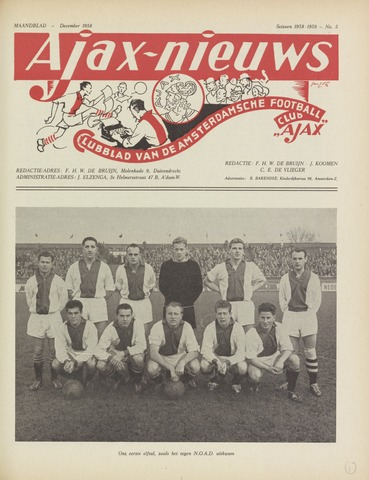 Clubnieuws Ajax (vanaf 1916) 1958-12-01