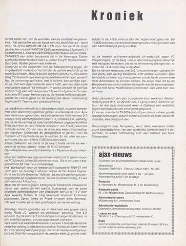 Clubnieuws Ajax (vanaf 1916) 1981-02-01