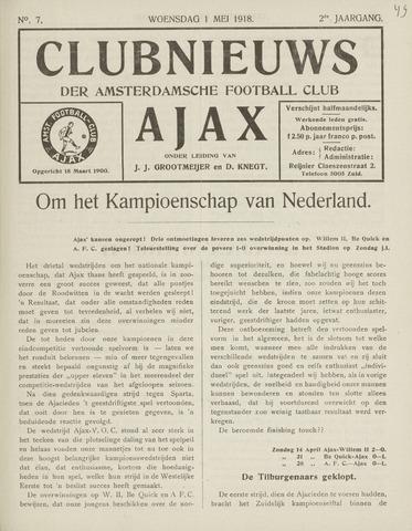 Clubnieuws Ajax (vanaf 1916) 1918-05-01