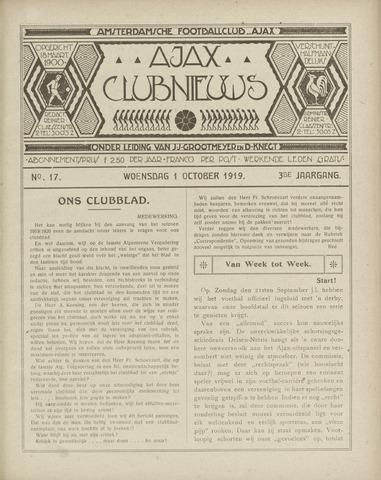 Clubnieuws Ajax (vanaf 1916) 1919-10-01