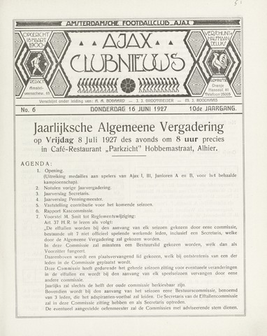 Clubnieuws Ajax (vanaf 1916) 1927-06-16