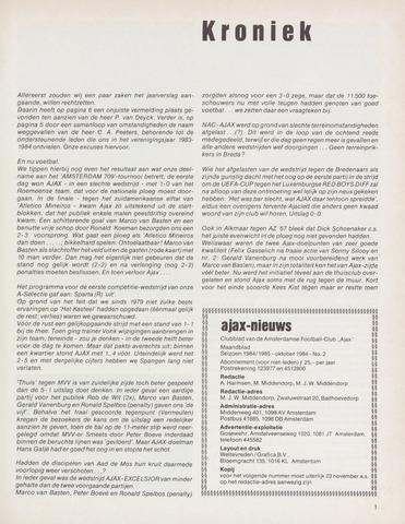 Clubnieuws Ajax (vanaf 1916) 1984-10-01