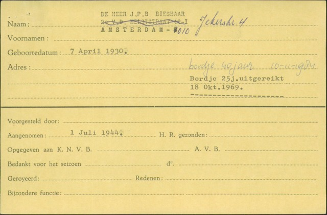 Ledenkaarten (1911-1989) 1944