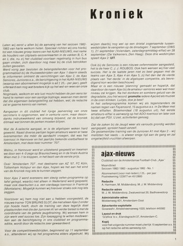 Clubnieuws Ajax (vanaf 1916) 1982-08-01