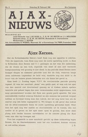 Clubnieuws Ajax (vanaf 1916) 1941-02-22