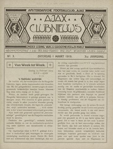 Clubnieuws Ajax (vanaf 1916) 1919-03-01