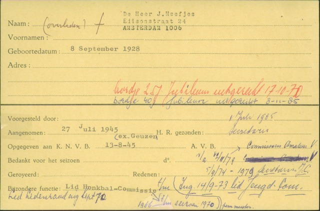 Ledenkaarten (1911-1989) 1945