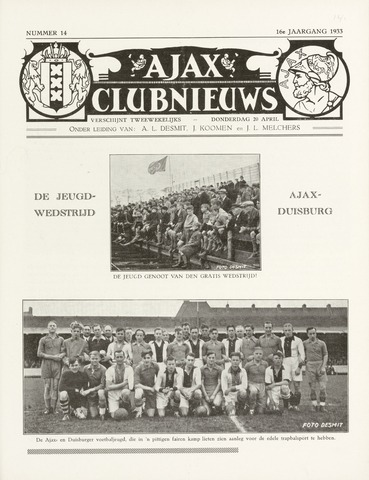 Clubnieuws Ajax (vanaf 1916) 1933-04-20