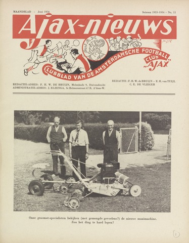 Clubnieuws Ajax (vanaf 1916) 1954-06-01