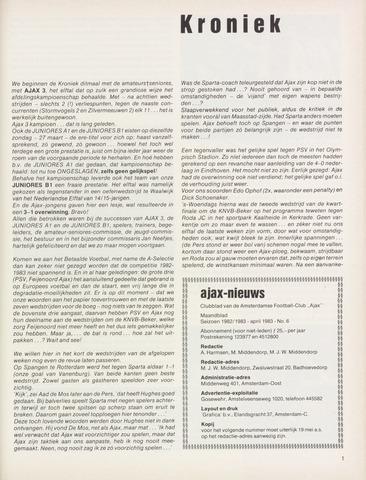 Clubnieuws Ajax (vanaf 1916) 1983-04-01