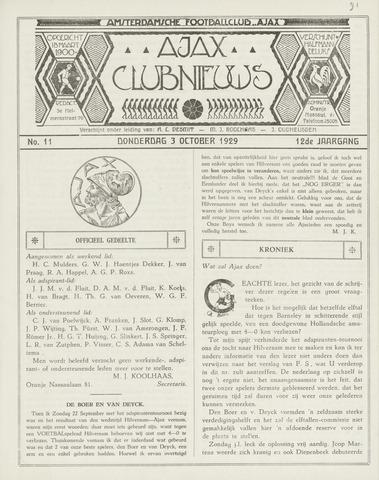 Clubnieuws Ajax (vanaf 1916) 1929-10-01
