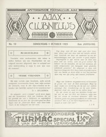 Clubnieuws Ajax (vanaf 1916) 1925-10-01