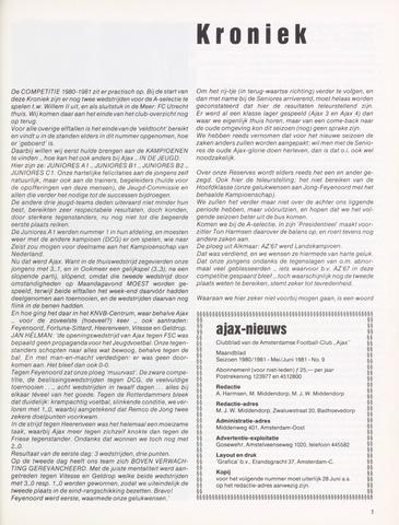 Clubnieuws Ajax (vanaf 1916) 1981-05-01