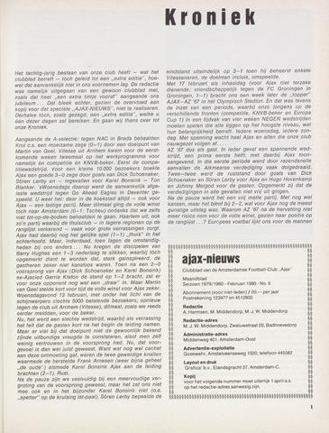 Clubnieuws Ajax (vanaf 1916) 1980-02-01