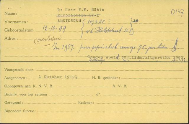 Ledenkaarten (1911-1989) 1912