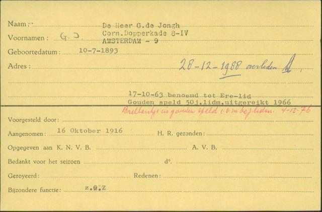 Ledenkaarten (1911-1989) 1916