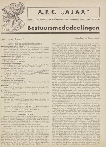 Clubnieuws Ajax (vanaf 1916) 1943-01-22