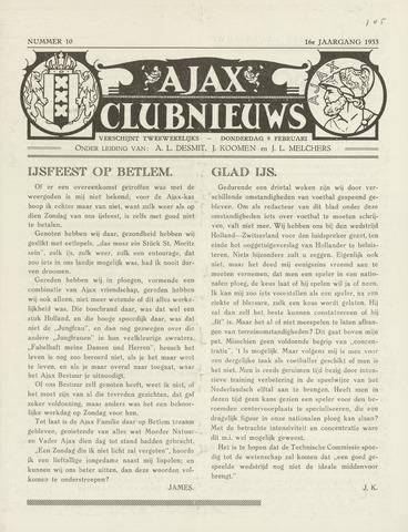 Clubnieuws Ajax (vanaf 1916) 1933-02-09