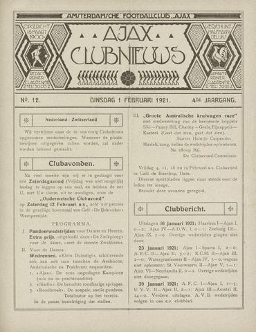 Clubnieuws Ajax (vanaf 1916) 1921-02-01