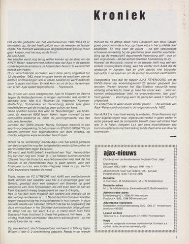 Clubnieuws Ajax (vanaf 1916) 1984-02-01