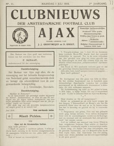 Clubnieuws Ajax (vanaf 1916) 1918-07-01