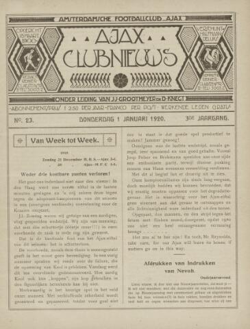 Clubnieuws Ajax (vanaf 1916) 1920-01-01