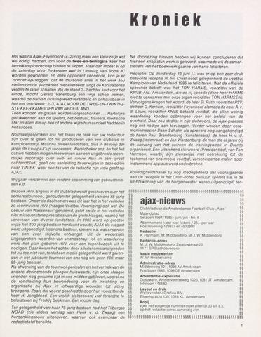 Clubnieuws Ajax (vanaf 1916) 1985-06-01