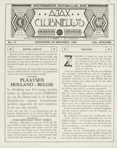 Clubnieuws Ajax (vanaf 1916) 1930-02-01