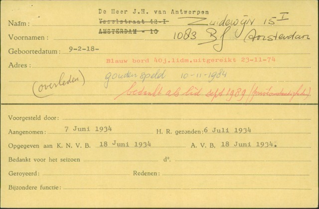 Ledenkaarten (1911-1989) 1934